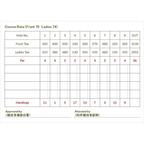 ゴルフ スコアカード(モノクロ・A4)