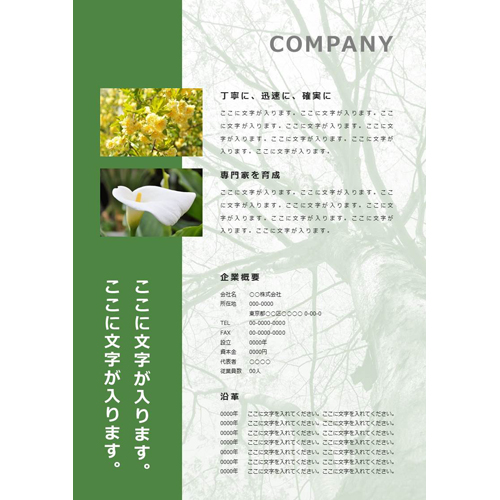 会社案内・パンフレット(木・グリーン・A4)