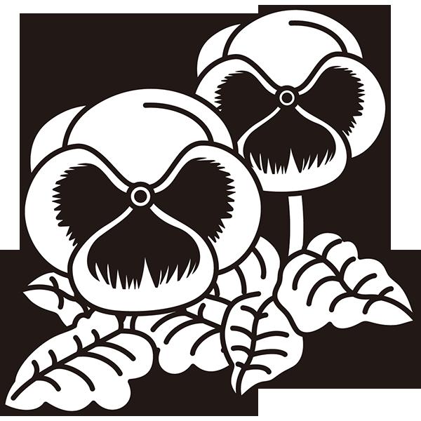 植物 パンジー(モノクロ)