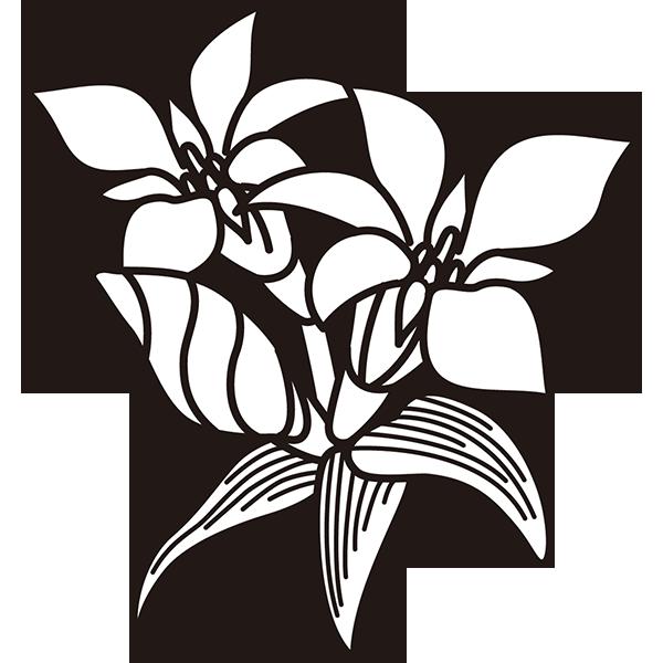 植物 リンドウ(モノクロ)