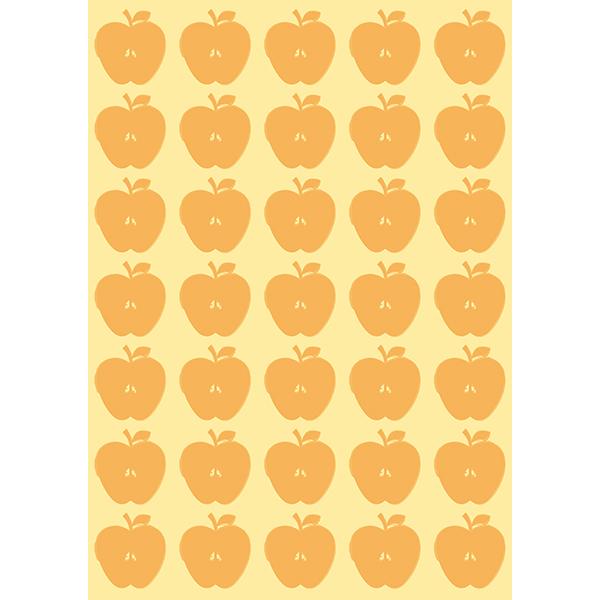 背景画像 オレンジ色の小さめのりんご柄(カラー)