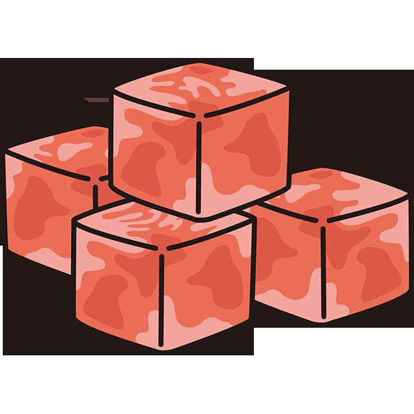 食品 肉(サイコロステーキ)(カラー)