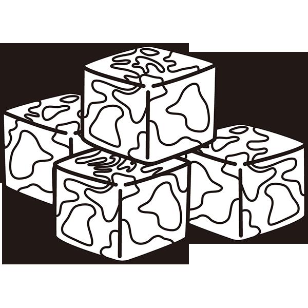 食品 肉(サイコロステーキ)(モノクロ)