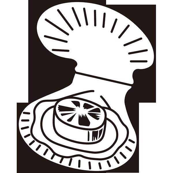 食品 帆立貝(ホタテ貝)(モノクロ)
