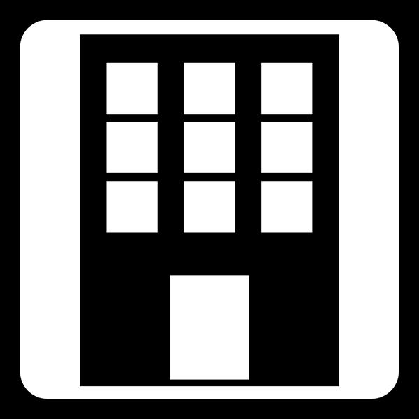 ビジネス 会社・ビルアイコン(四角)(モノクロ)