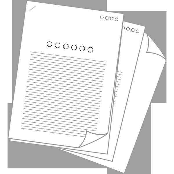 ビジネス 書類・資料アイコン(端折れ・複数)(カラー)