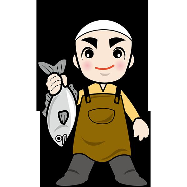 人物 魚屋さん(カラー)