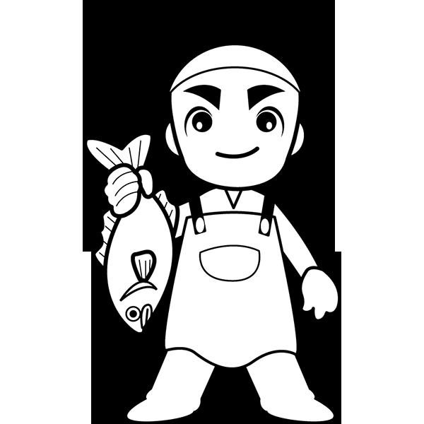 人物 魚屋さん(モノクロ)