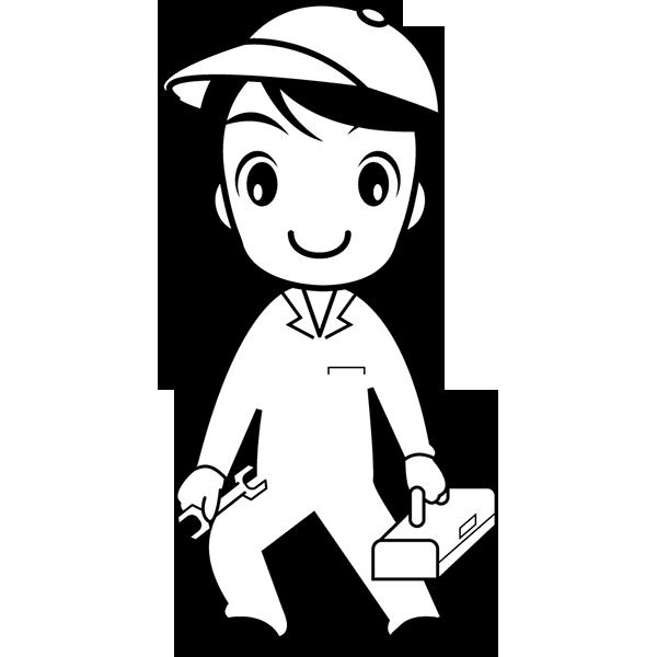 人物 修理作業員(モノクロ)