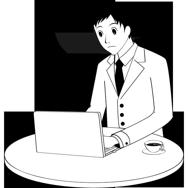 人物 ビジネスマン(営業マン)(モノクロ)