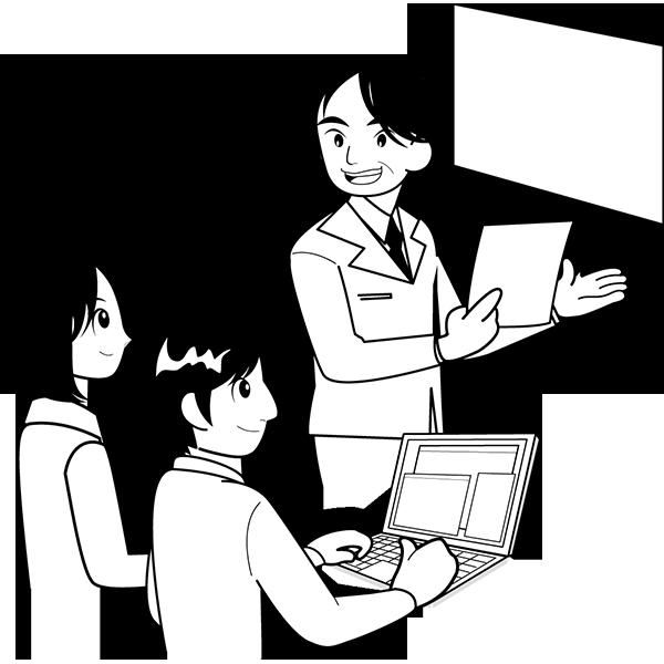 人物 会議をする人々(ミーティング)(モノクロ)
