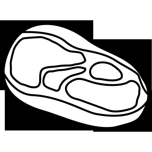 食品 肉(生肉)(モノクロ)