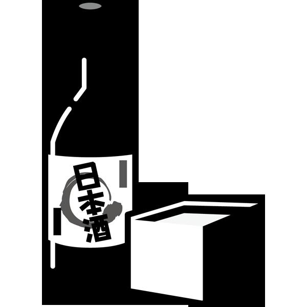 食品 お酒(日本酒と枡)(モノクロ)