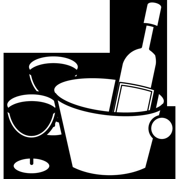 食品 ワイン(赤ワイン)(モノクロ)