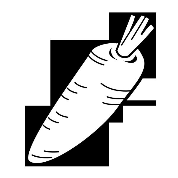 食品 人参(にんじん)(モノクロ)
