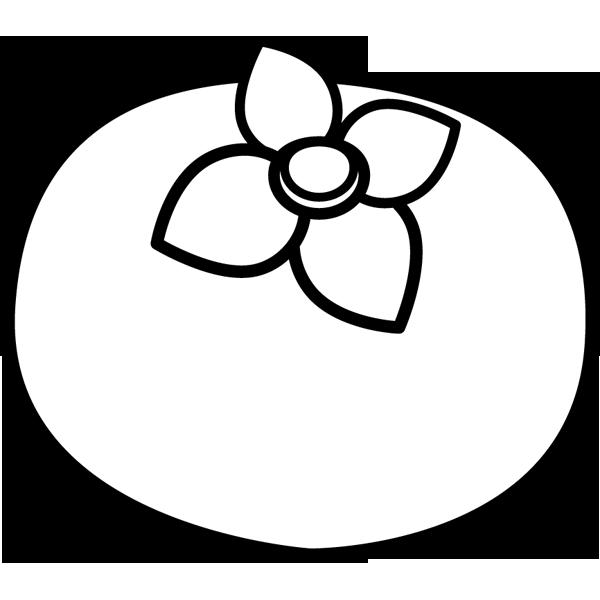 食品 柿(カキ)(モノクロ)