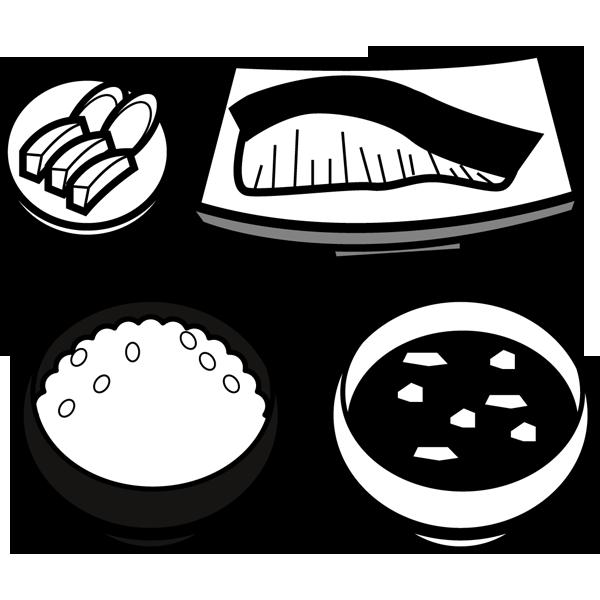 食品 和食(焼き鮭定食)(モノクロ)