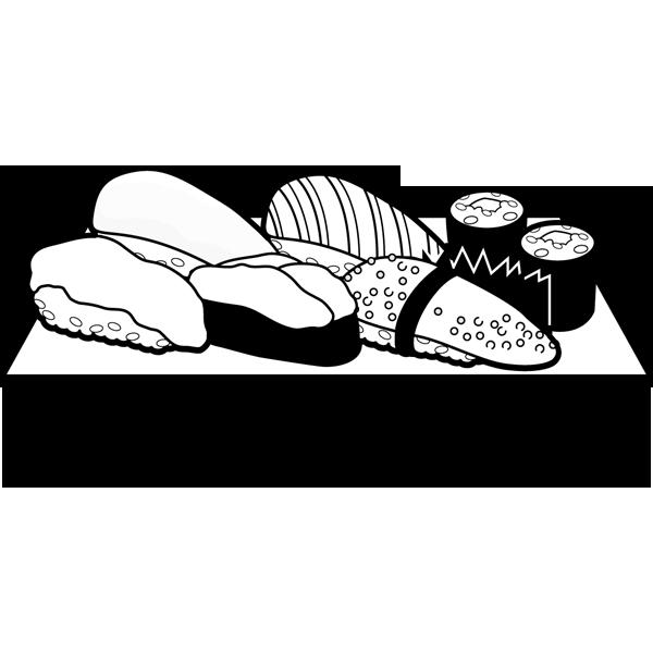 食品 寿司(寿司の盛り合わせ)(モノクロ)