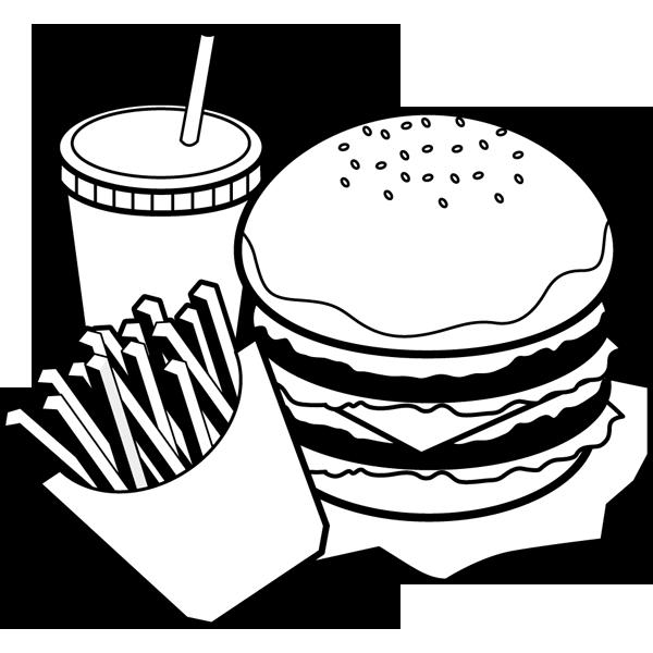 食品 ハンバーガーセット(モノクロ)