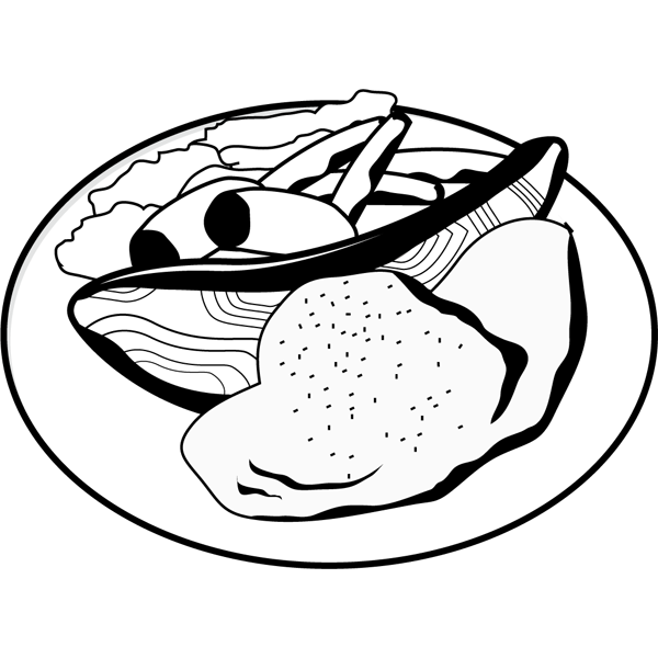 食品 ムニエル(鮭のムニエル)(モノクロ)