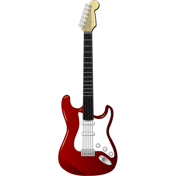 音楽 エレキギター(赤)(カラー)