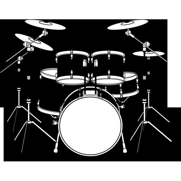 音楽 ドラムセット(モノクロ)