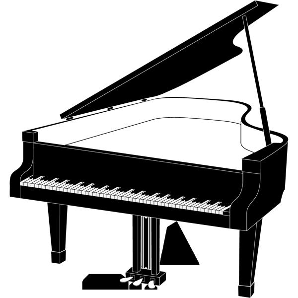 音楽 グランドピアノ(モノクロ)