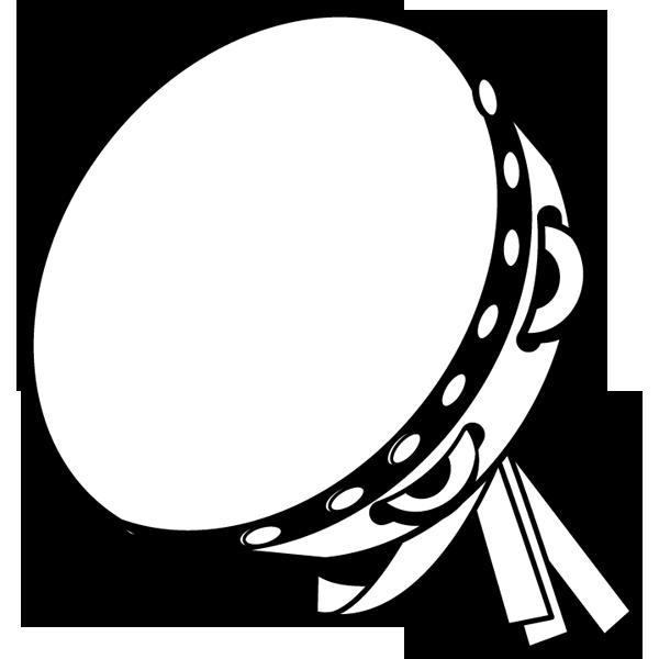 音楽 タンバリン(モノクロ)