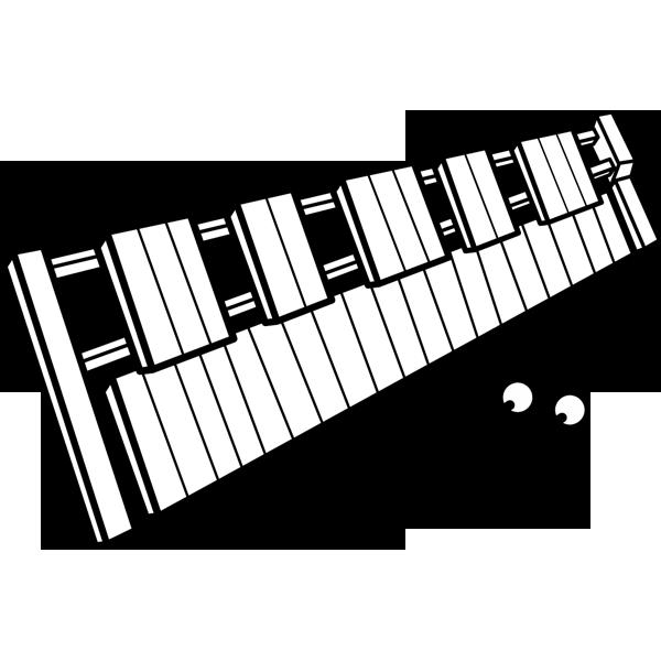 音楽 木琴(モノクロ)