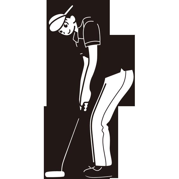 ゴルフ パターショット(ゴルフスイング)(モノクロ)