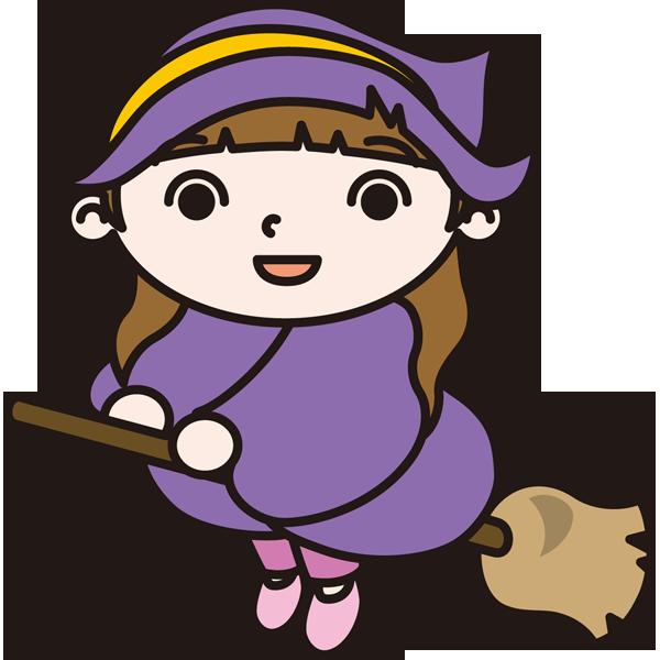 年中行事 魔女とホウキ(カラー)