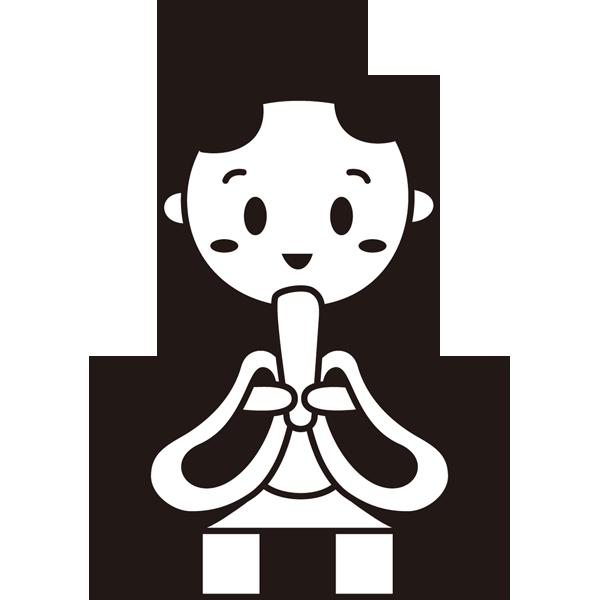 年中行事 雛人形(お内裏さま)(モノクロ)