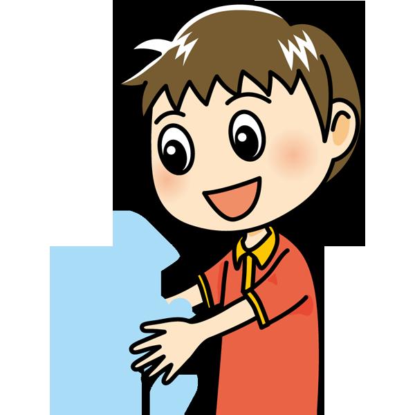 学校 手洗い(男の子)(カラー)