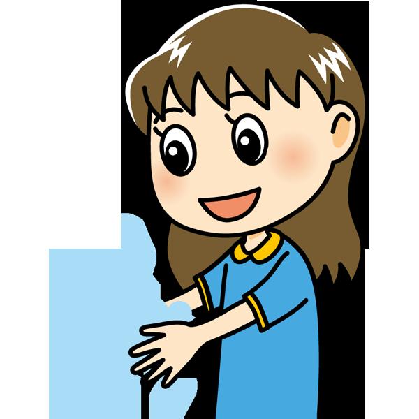 学校 手洗い(女の子)(カラー)