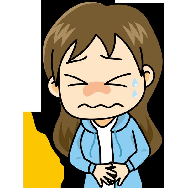 学校 腹痛(女の子)(カラー)