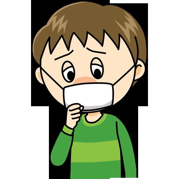 学校 風邪(マスクの男の子)(カラー)