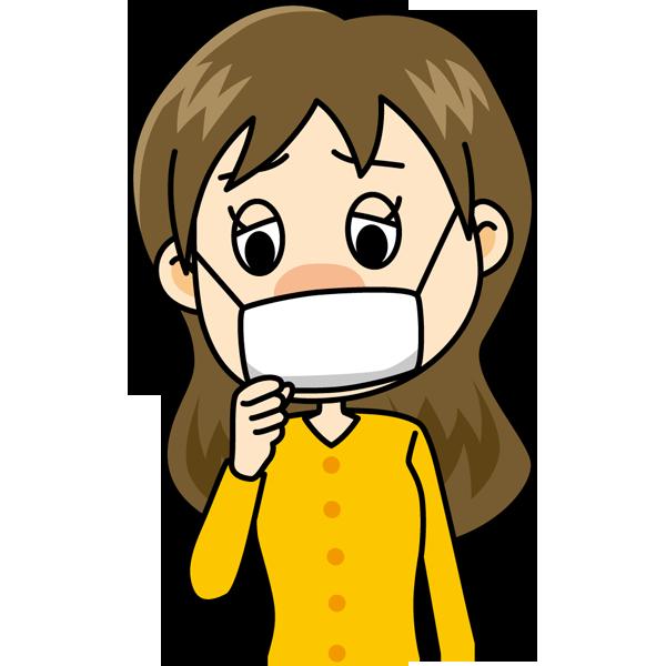 学校 風邪(マスクの女の子)(カラー)