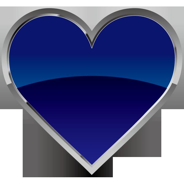 装飾 ハート(青いハートマーク)(カラー)