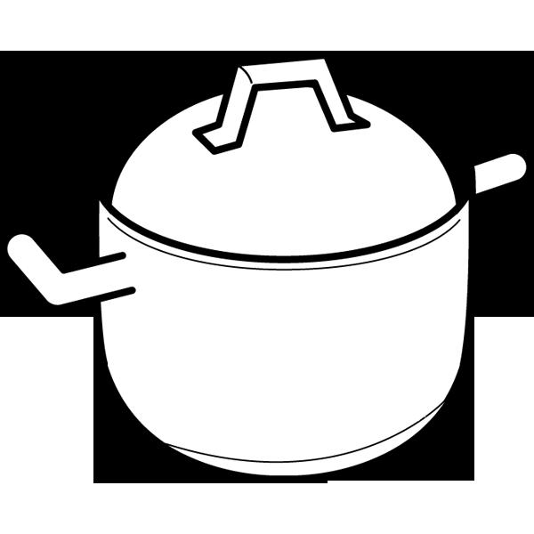 家庭・生活 鍋(モノクロ)