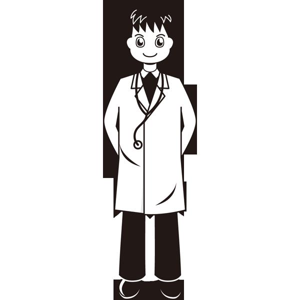医療 医者(ドクター)(モノクロ)