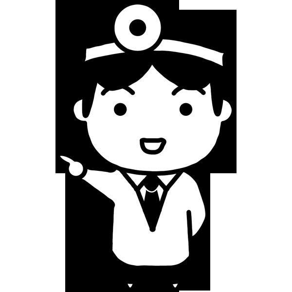 医療 医者(ドクター・キャラクター風)(モノクロ)