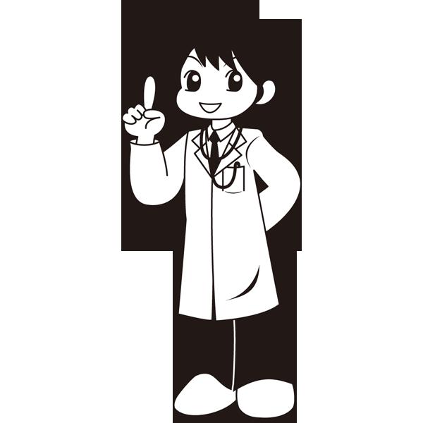 医療 医者(ドクター・マンガ風)(モノクロ)