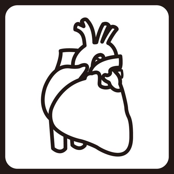 医療 循環器内科アイコン(モノクロ)