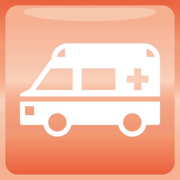 医療 救急車アイコン(カラー)