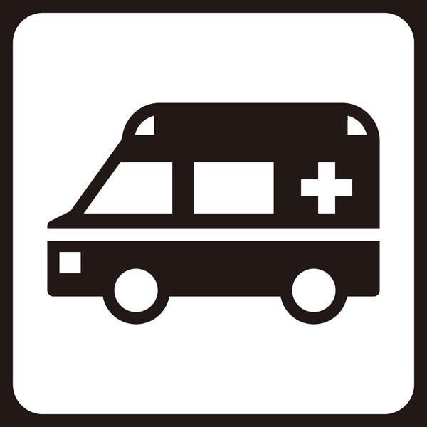 医療 救急車アイコン(モノクロ)
