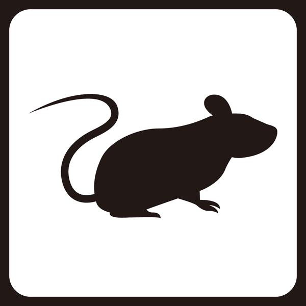 医療 ネズミアイコン(モノクロ)