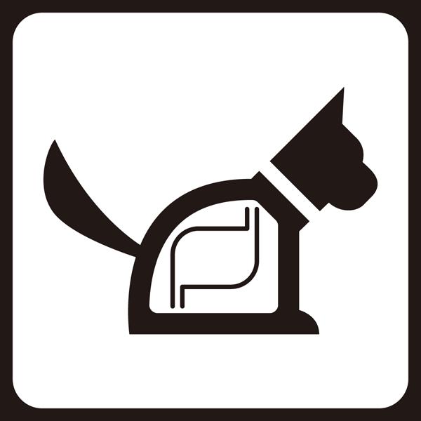 医療 犬アイコン(レントゲン風)(モノクロ)