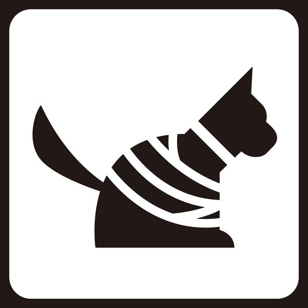 医療 犬アイコン(包帯風)(モノクロ)