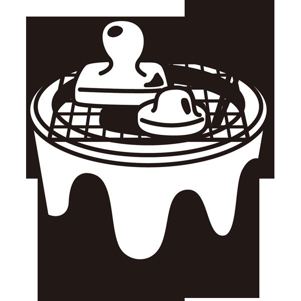 年中行事 お餅(焼き餅)(モノクロ)