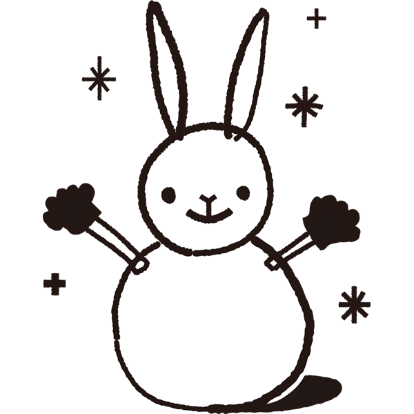 年中行事 雪だるま(うさぎ)(モノクロ)